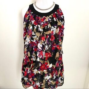 Tops - Trendy Ruffle Floral Printed Sleeveless Blouse